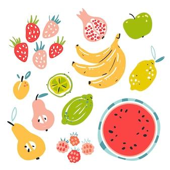 Hand gezeichnete illustration von verschiedenen fruchtbestandteilen.
