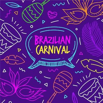 Hand gezeichnete illustrationen brasilianischer karneval