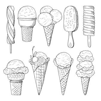 Hand gezeichnete illustrationen eingestellt von den eiscreme. vektorskizze
