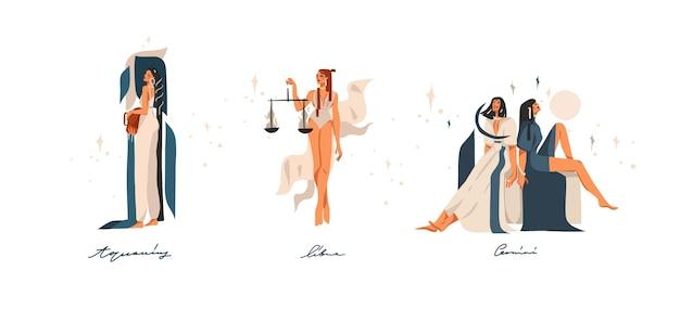 Hand gezeichnete illustrationen mit sternzeichen astrologischen zeitgenössischen luftzeichen sammlung