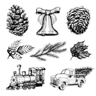 Hand gezeichnete illustrationen von weihnachtsspielzeug und weihnachtskrippen. neujahrsbilder.