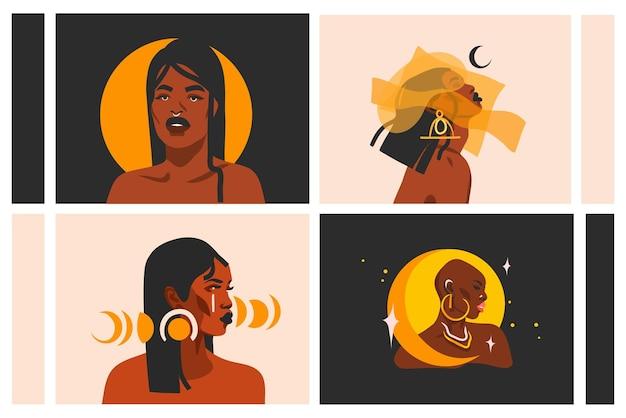 Hand gezeichnete illustrationssammlung mit den schönen schwarzen afroamerikanerfrauen des ethnischen stammes, sonne und magischen mondphasen