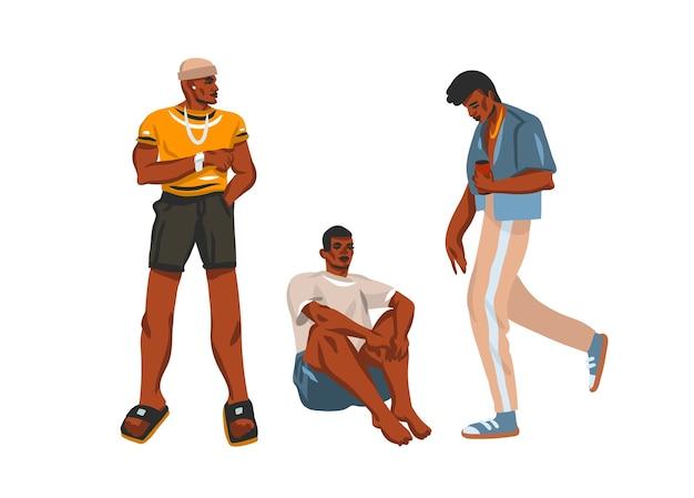Hand gezeichnete illustrationssammlung mit jungen glücklichen männlichen jungs