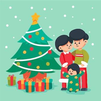 Hand gezeichnete illustrationsweihnachtsfamilienszene