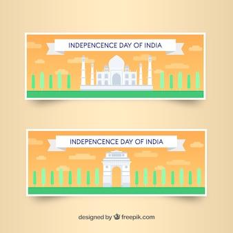 Hand gezeichnete indien-unabhängigkeitstag-verkaufsfahnen