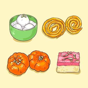 Hand gezeichnete indische süßigkeiten