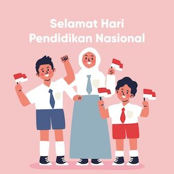 Hand gezeichnete indonesische nationale bildungstagillustration