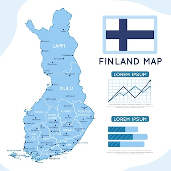 Hand gezeichnete infografik der finnlandkarte