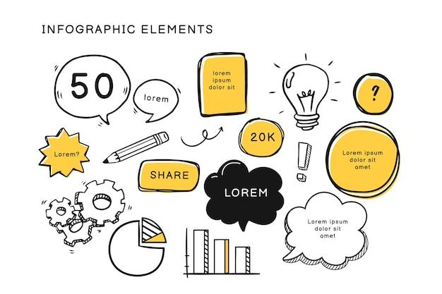 Hand gezeichnete infografik-elementsammlung