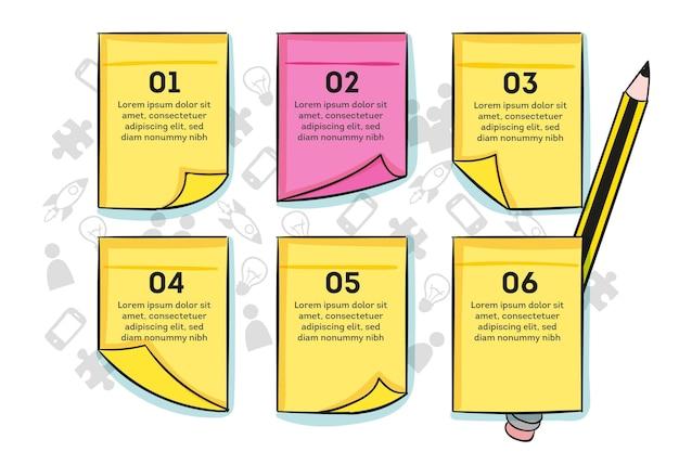 Hand gezeichnete infografiken für post-its-boards