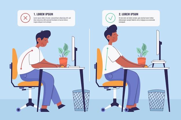 Hand gezeichnete infografiken zur korrektur der körperhaltung