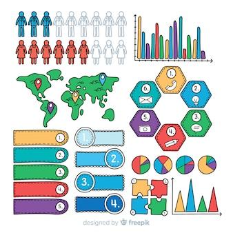 Hand gezeichnete infographic elementsammlung