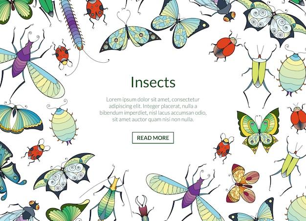 Hand gezeichnete insekten mit platz für textillustration