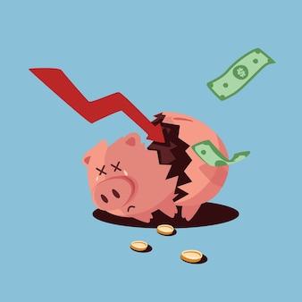 Hand gezeichnete insolvenz gebrochenes sparschwein