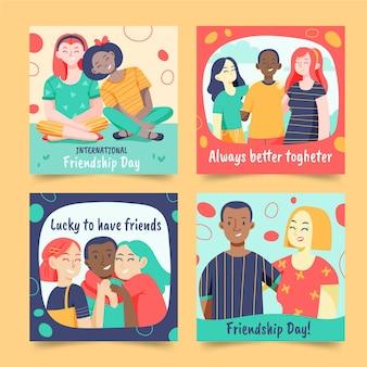 Hand gezeichnete internationale freundschaftstag instagram beiträge sammlung