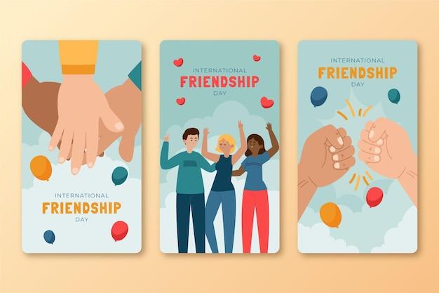 Hand gezeichnete internationale freundschaftstag instagram geschichten sammlung