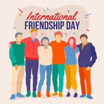 Hand gezeichnete internationale freundschaftstagillustration