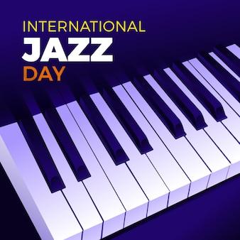 Hand gezeichnete internationale jazz-tagesillustration mit klaviertasten