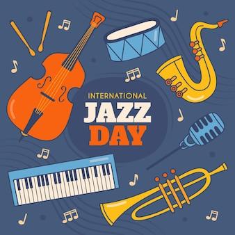 Hand gezeichnete internationale jazz-tagesillustration mit musikinstrumenten