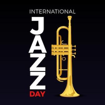 Hand gezeichnete internationale jazz-tagesillustration mit trompete