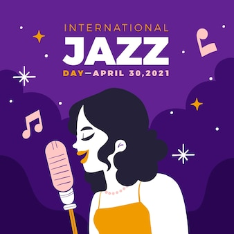 Hand gezeichnete internationale jazz-tagesillustration
