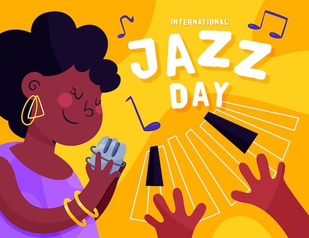 Hand gezeichnete internationale jazz-tagesillustration