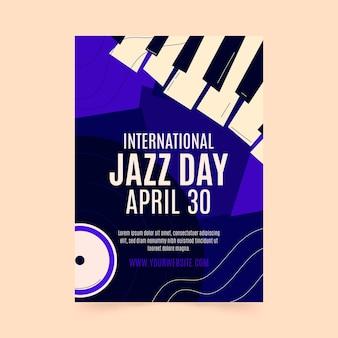 Hand gezeichnete internationale jazz-tagesplakatschablone