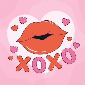 Hand gezeichnete internationale kuss-tagesillustration mit den lippen