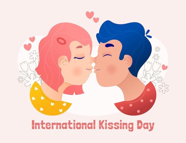 Hand gezeichnete internationale kuss-tagesillustration mit paarküssen
