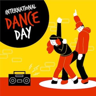 Hand gezeichnete internationale tanztagillustration