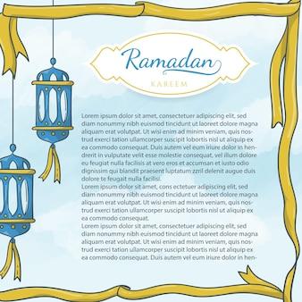 Hand gezeichnete islamische laterne und band, plakatschablone