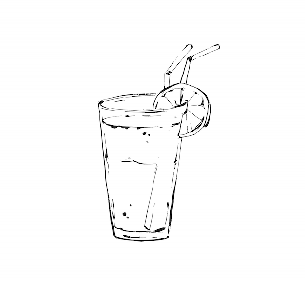 Hand gezeichnete istic kochtintenskizzenillustration des tropischen limonadenshake-getränks im glas auf weißem hintergrund