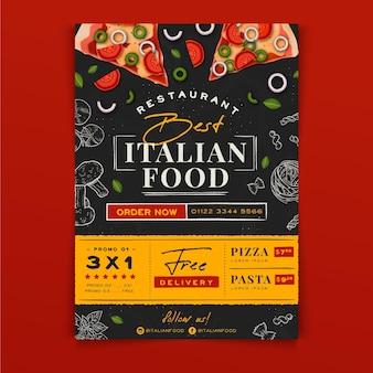Hand gezeichnete italienische lebensmittel a5 flyer vorlage