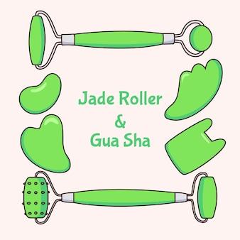 Hand gezeichnete jadewalze und gua sha set