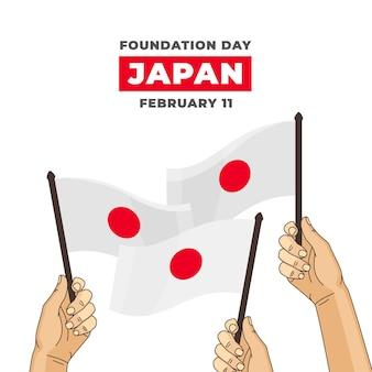 Hand gezeichnete japan-flaggen des gründungstages