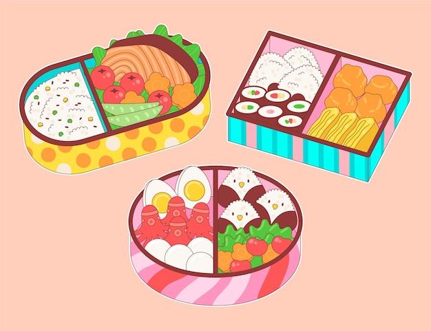 Hand gezeichnete japanische brotdose gefüllt mit essen