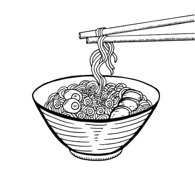 Hand gezeichnete japanische lebensmittelskizze illustration. ramen