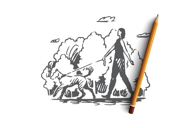 Hand gezeichnete junge frau, die einen großen hund in der parkkonzeptskizze geht