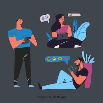 Hand gezeichnete junge leute, die satz des technologischen geräts verwenden