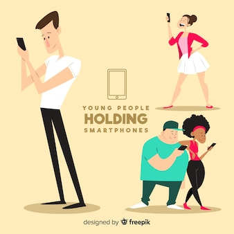 Hand gezeichnete junge leute, die smartphones halten