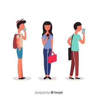 Hand gezeichnete junge leute, die smartphonesatz verwenden