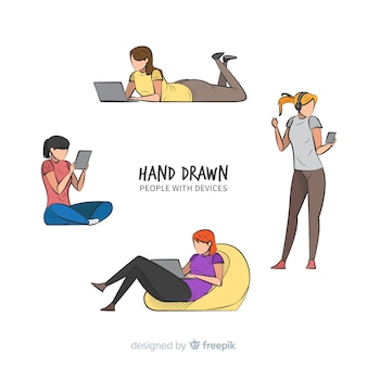 Hand gezeichnete junge leute, die technologische geräte verwenden