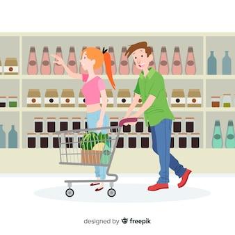 Hand gezeichnete junge leute im supermarkt