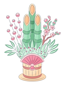 Hand gezeichnete kadomatsu-illustration
