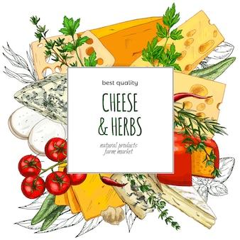 Hand gezeichnete käse-banner-vorlage