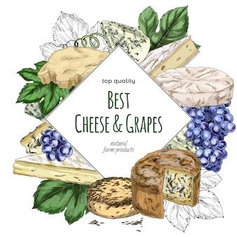 Hand gezeichnete käse-banner