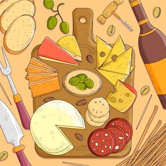 Hand gezeichnete käseplatte illustriert