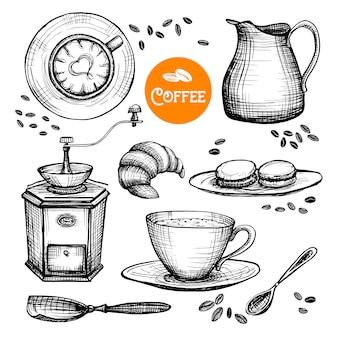 Hand gezeichnete kaffee-set