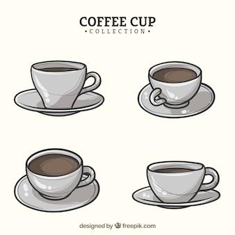 Hand gezeichnete kaffeetassesammlung mit verschiedenen ansichten