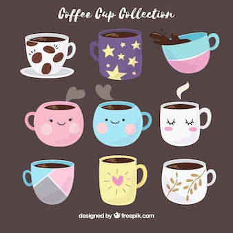 Hand gezeichnete kaffeetassesammlung